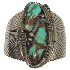 117.4 grams Wilson Padilla Turquoise Sterling Navajo Cuff Bracelet