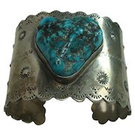 Signed Wide Turquoise Sterling Cuff Bracelet-121.6 grams