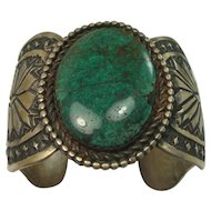 HEAVY 143.3 grams Signed Large Turquoise Sterling Cuff Bracelet