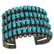 Zuni Turquoise Petite Point 4 Row 52 Turquoise Cabochons Cuff Bracelet