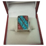 Signed Sterling Chip Turquoise Coral Mens Ring