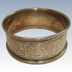 Antique 1894 Sterling Birmingham Acanthus Napkin Ring