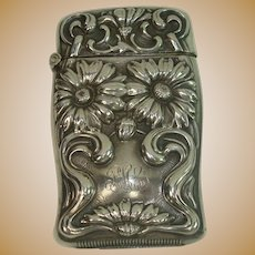 Sterling Art Nouveau Daisy Match Safe or Vesta