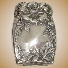 Gorgeous Sterling Floral Art Nouveau Match Safe or Vesta
