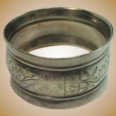 Coin Silver Floral and Vine Napkin Ring