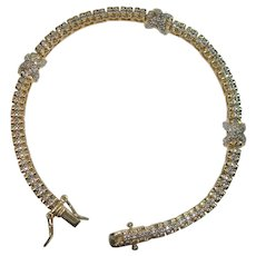 "Gold Vermeil Tennis Bracelet Look Sterling Bracelet 7 1/2"""