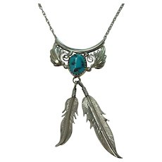 Navajo Turquoise Feather Sterling Necklace