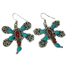 Heavy Signed Coral Sleeping Beauty Turquoise Earrings