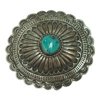 Sterling Navajo Turquoise Concho Belt Buckle