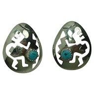 Sterling Navajo Turquoise Dancing Kachina Earrings