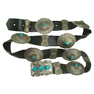 Signed Sterling Turquoise Concho Belt with Butterflies