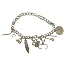 Sterling Curb Link Charm Bracelet w/ 7 Charms