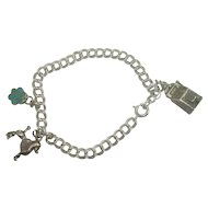 Sterling Double Curb Link Slot Machine French Poodle Charm Bracelet