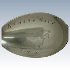 Kansas City Missouri Cow Souvenir Spoon