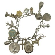 Sterling Rope Style Link Charm Bracelet with 15 Charms