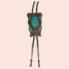 Large Signed M. Benally Turquoise Sterling Bolo Tie