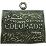 Vintage Colorado State Sterling Charm