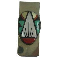 Signed Zuni Inlaid Money Clip