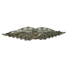 Beautiful Vintage Winged Filagree Sterling Brooch or Pin