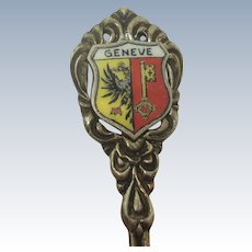 Geneva Switzerland Enameled 800 Souvenir Spoon