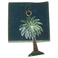 Vintage Sterling Enameled Palm Tree Charm by Wells