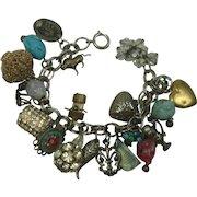 Vintage Chunky Rhinestone Plus Charm Bracelet