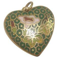 Floral Cloisonne Heart Charm