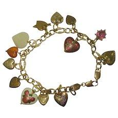 Vintage Gold Filled Heart Charm Bracelet