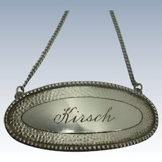 Sterling Kirsch Decanter Label