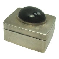 Mexico Black Onyx Sterling Pill Box