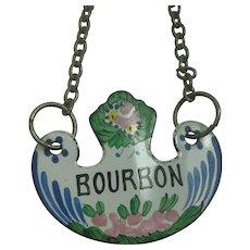 Vintage Enamel Bourbon Decanter Label