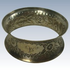 1875 Stainton Bros. Sterling Floral Napkin Ring