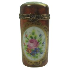 Limoges France Floral Hand Painted Pill Box