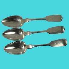 HEAVY A. W McKown Coin Silver Spoon Set