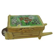 Dubarry Limoges Porcelain Floral Wheelbarrow Pill Box