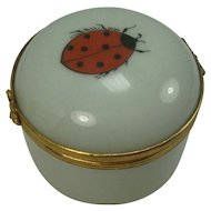 Limoges Porcelain Ladybug Pill Box Ring Box