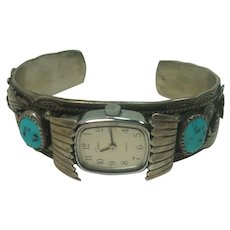 Signed Sam Pablo Navajo Turquoise Coral Watch Cuff Bracelet