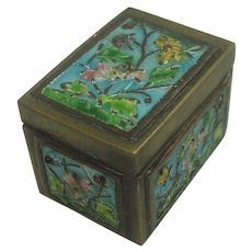 Vintage Chinese Export Brass Floral Enameled Stamp Box