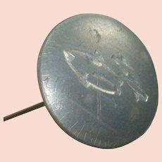 Interesting Aluminum Topped Hat Pin
