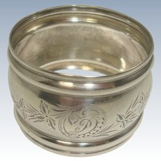 Sterling Floral and Leaf Barrel Napkin Ring
