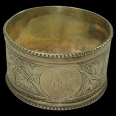 Antique 1881 Josiah Williams Exeter Floral and Leaf Napkin Ring