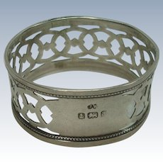 Antique J Wilmot 1900 Birmingham Sterling Napkin Ring