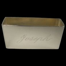 Towle Octagonal Sterling Napkin Ring monogrammed Joseph