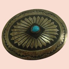 Native American Concho Sterling and Turquoise Belt Buckle