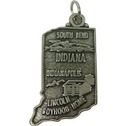 Vintage Large Indiana State Charm
