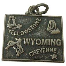 Vintage Wyoming State Sterling Charm