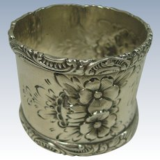 Wood & Hughes Sterling Floral and Acanthus Napkin Ring engraved George