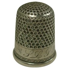 Sterling Monogrammed Thimble Size 10
