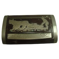 French Wooden La San Claudienne Deposee Snuff or Pill Box
