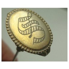 """Antique Victorian Gold Filled Brass Hat Pin 11"""""""